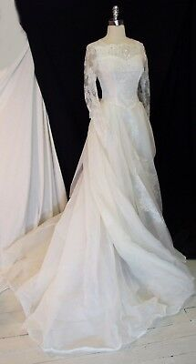 Exquisite Vtg 1950s Beaded Lace Sheer SILK Chapel Train Wedding Gown DRESS S