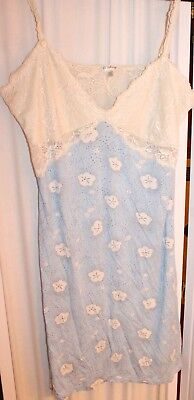 P.J. Salvage Lace and Cotton Blue Cloud Print Chemise Size Large L