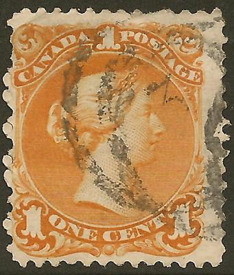 Canada 23a used 1c deep orange Large Queen -Cat $260.00 SEE NOTE: