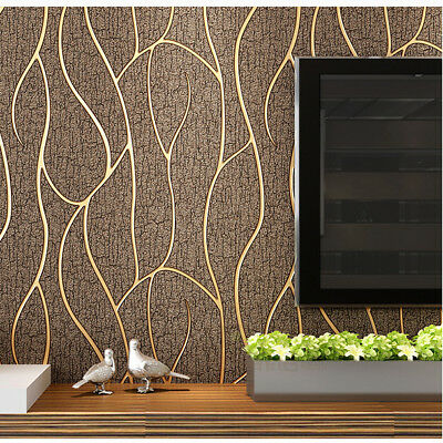 Imitation Deerskin Embossed Curve Luxury 3D Thick Non-woven Wallpaper Brown 5.3㎡