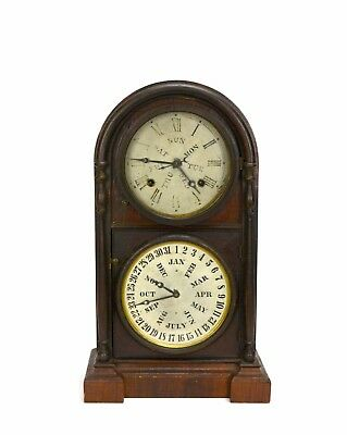 Original Antique 1870 American EN Welch Double Dial Lewis Calendar Mantle Clock