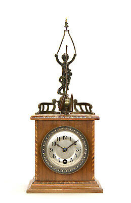 Rare Antique German 8 Day Figure Top Rotary Flying Bullet Pendulum Mantle Clock
