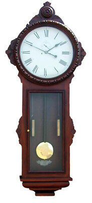 """Huge 68"""" Tall Vintage Ansonia Double Weight Driven Carved General Wall Clock"""