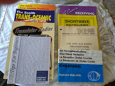 Collection of 8 Radio Receiver, Antenna, and Reception Books and Booklets