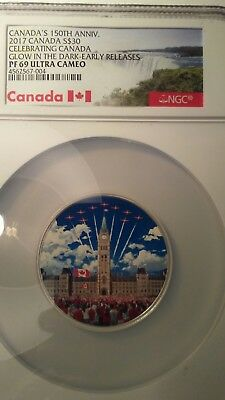 2017 Canada $30 150th Anniversary Cerebrating Canada Glow In The Dark Early real