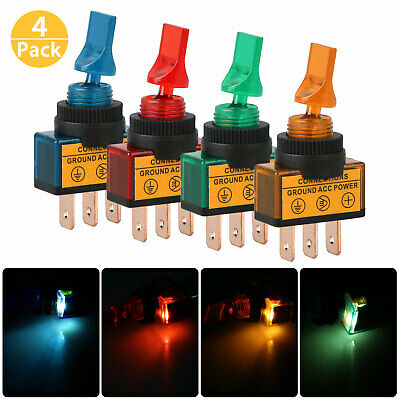 4PCS DC 12V LED Lamp 2 Position ON/OFF SPST Car Boat Truck Marine Toggle Switch