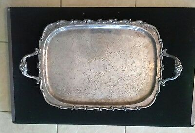 "Antique Silver Coated Bronze Scallop Footed Platter 24.5"" long by 14"" wide 7 lbs"