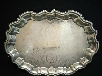 Antique Silver Coated Bronze Scallop Footed Platter SFC BURVELL BUTTS OCT. 7 '68