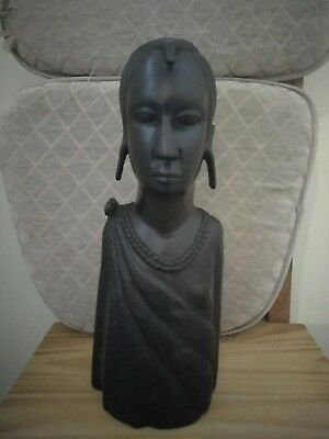 "African Art Large Wooden Statue 16.5"" tall"