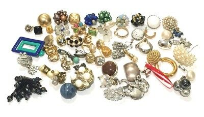 Lot of 61 Vintage To Modern Earrings Singles Estate Costume Jewelry Craft