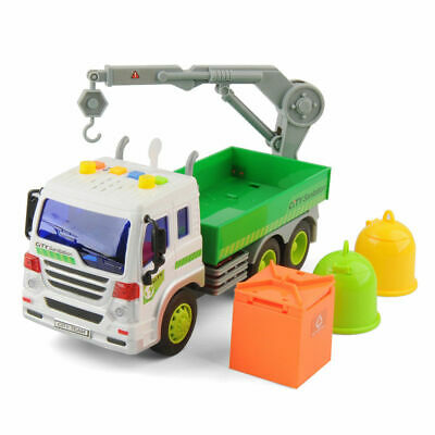 Large Garbage Crane Truck Toy with Light Sound for Kids+Trash Containers Playset