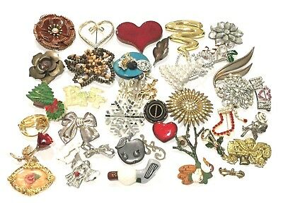Vintage To Modern Mixed Brooch Lot Of 39 Estate Costume Jewelry Craft  018