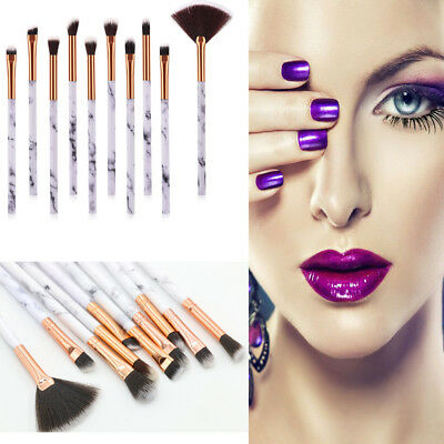 10PCS Makeup Brushes Set Marble Style Powder Blush Eyeshadow Cosmetic Tool RLTS