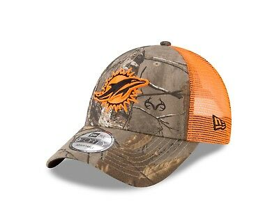 Miami Dolphins New Era Real Tree Trucker Mesh 9Forty Adjustable hat - Camo 20842322f51e