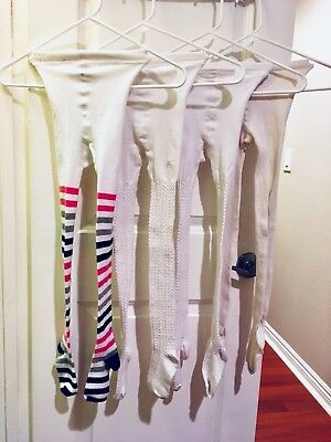 4 Pair Top Band Tights Girl'S Size 7-10 Cotton Blend White+Striped Fresh Washed