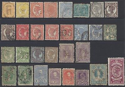 Pre Decimal Queensland QLD State Stamps - Perf OS / Stamp Duty / Wmk Variety