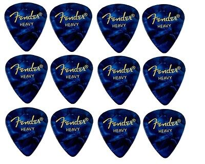 FENDER  Premium Celluloid Plectrums - Pack of 12 picks -  Blue - Heavy 351 Shape