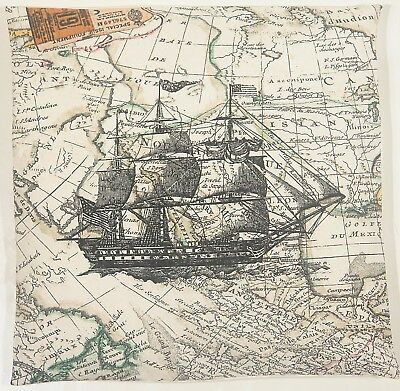 "Ashley Wilde Explorer Ship Atlas Design 16"" Cushion Cover"