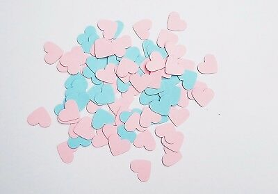 Handmade heart table confetti in pink and blue