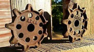 """Pair of Antique McCormick Deering Cast Iron Chain Sprockets 5""""x2""""x7/8"""""""