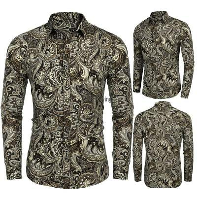 Men Turn Down Collar Long Sleeve Paisley Printed Shirt AGSG