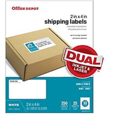 Office Depot White Inkjet/Laser Shipping Labels, 2in. x 4in, Pack Of 250,