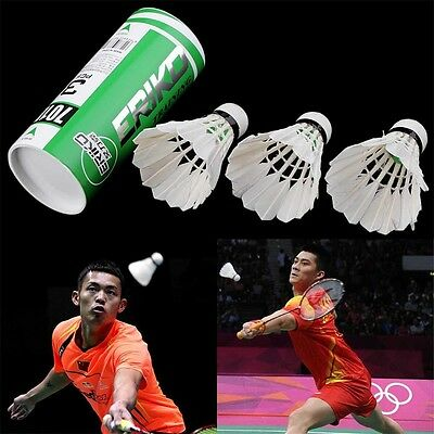 3pcs NEW Game Sport Training White Duck Feather Shuttlecocks Badminton Ball JLY