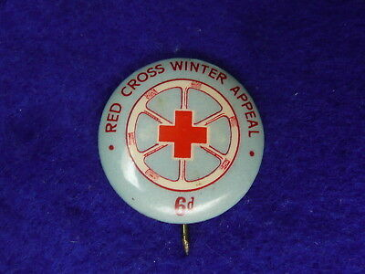 Red Cross Badge Pin Button 1940s
