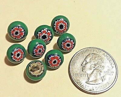 Vintage Small Green CERAMIC Glass Buttons, Painted Design. Set of 8, beauties!