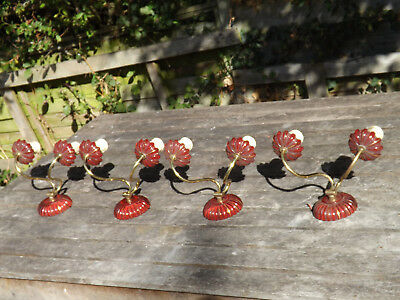Vintage Set Of 4 Reclaimed Double Brass Wall Lights With Glass Fittings