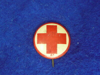 Red Cross Badge Pin Button 1940s - 1950s
