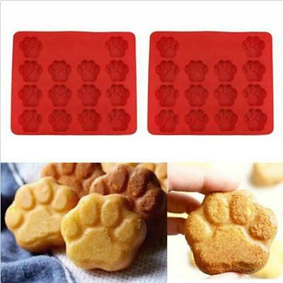 Paw Print Silicone Cat Dog Animal Cookie Cake Candy Chocolate Soap Ice Mold 6A