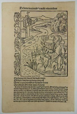 Ship Of Fools Incunable Woodcut 1494 Haintz Narr Meister Narrenschiff Fool
