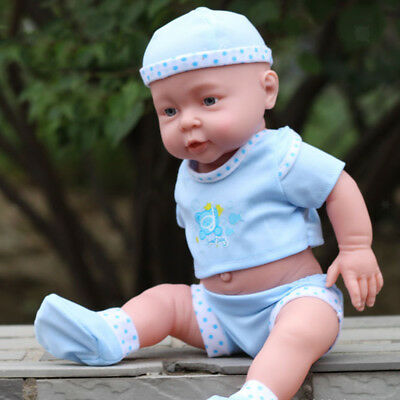 Lifelike Baby Boy Doll Silicone Infant Model in Blue Clothes Birthday Gift