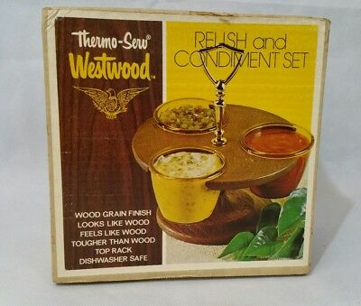 Relish and Condiment Set Thermo Serv Westwood NEW Vintage Imperial Walnut