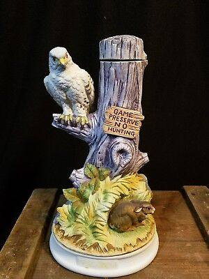 "Hoffman Musical Decanter Eagle and Rabbit 12"" Tall Game Preserve No Hunting"