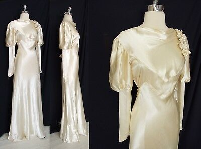 Exquisite Vtg Atq 1930s BIAS Liquid Silk Orchids Wedding Gown DRESS S M