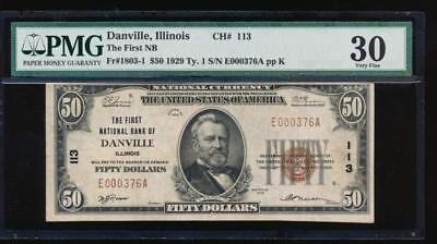 AC 1929 $50 The First National Bank of Danville, Illinois PMG 30 Ch #113
