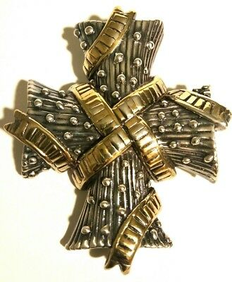 Cross 925 Sterling Silver & Gold Plated Royal Medieval Style Pendant & Brooch