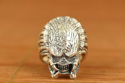 25g Rare chinese Fine S925 silver Alien Head Statue Ring noble gift