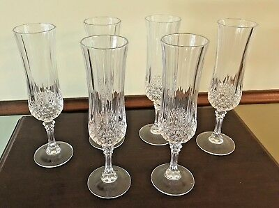 Set of 6 Crystal Fluted Champagne Glasses Cristal d'Arques Durand Longchamp