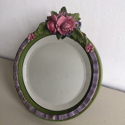 Small Art Deco Vintage Barbola Mirror Bevelled Wall / Strut Free Standing Floral