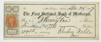 Mr Fancy Cancel 1st National Bank of McGregor Iowa 1867 Check #2457