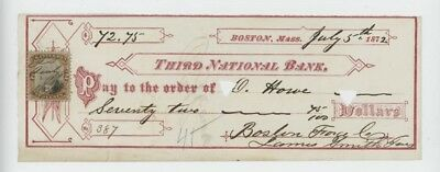 Mr Fancy Cancel Third National Bank Boston Mass 1872 Check #1791