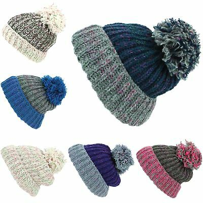 f3447d16db9 Beanie Hat Wool Cap Bobble Warm Winter Ribbed Lined LoudElephant Knit Ski