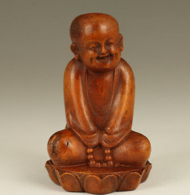 Rare chinese Old boxwood hand carving Buddha Monk statue Blessing hand piece