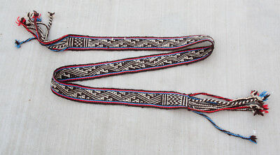6' Tarahumara Belt Sash Backstrap Weaving from Mexico - Brown/White/Red/Blue