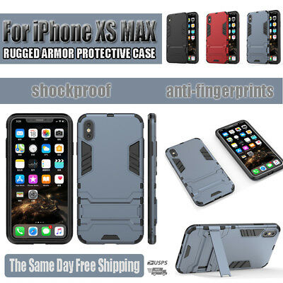 For Apple iPhone XS MAX Hybrid Rugged Shockproof Hard Bumper Stand Case Cover Fr