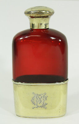 Frederic Purnell 1882 English Silver-gilt Red Glass Liquor Flask Monogrammed CM