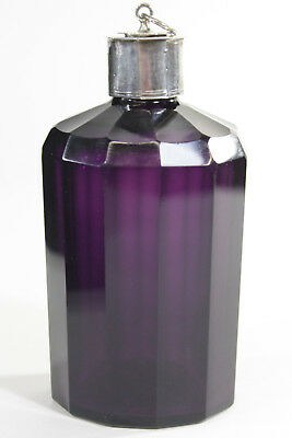 19th Cent. Amethyst Purple Glass Scent Bottle w/ Silver Cap & Applicator Stopper